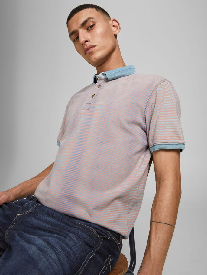 COUPE DROITE RAYURES POLO, Light Blue Denim, large