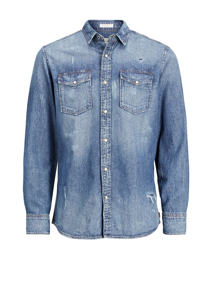 CASUAL OVERHEMD MET LANGE MOUWEN, Dark Blue Denim, large
