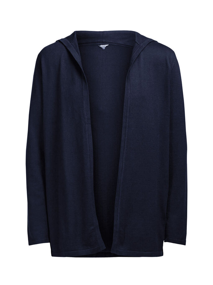 OPEN HOODED KNITTED CARDIGAN, Navy Blazer, large