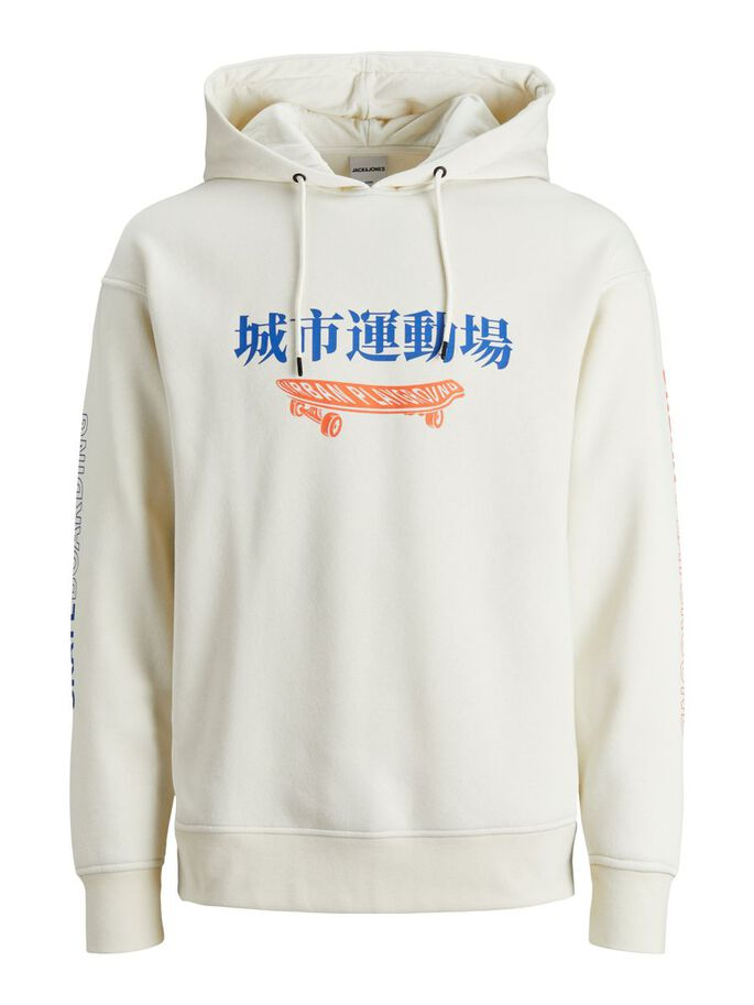CHINESE TEXT HOODIE, Silver Birch, large