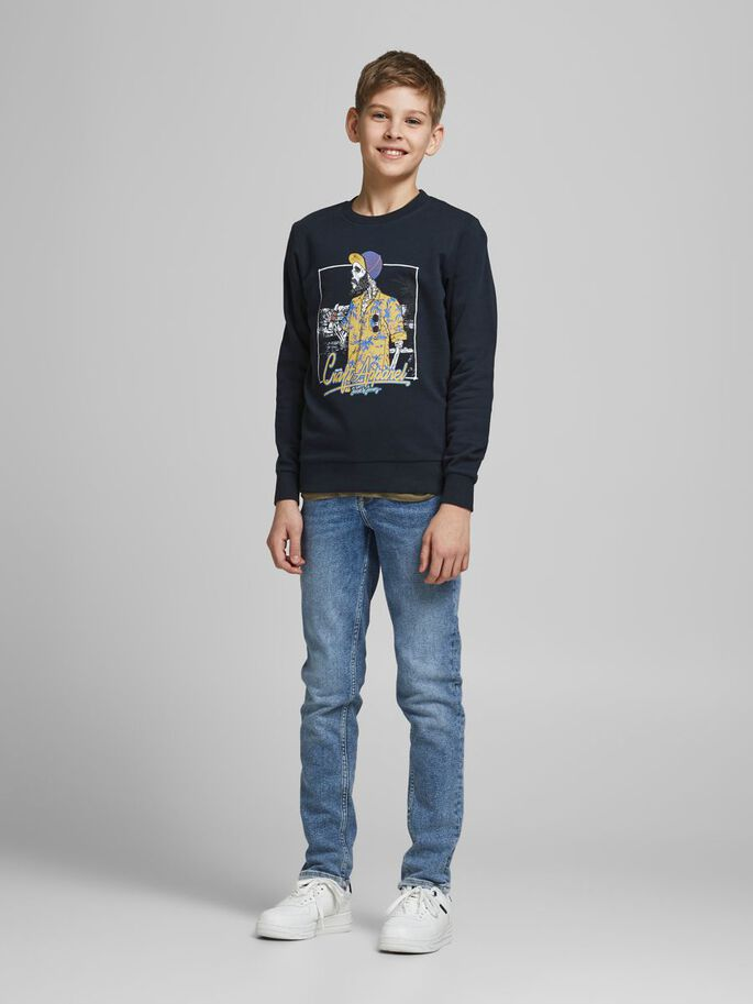 BOYS SKELETON PRINT SWEATSHIRT, Navy Blazer, large