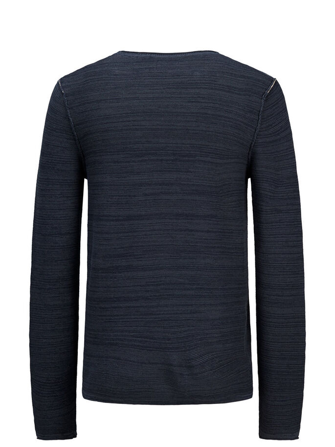LÄSSIGER STRICKPULLOVER, Dark Navy, large