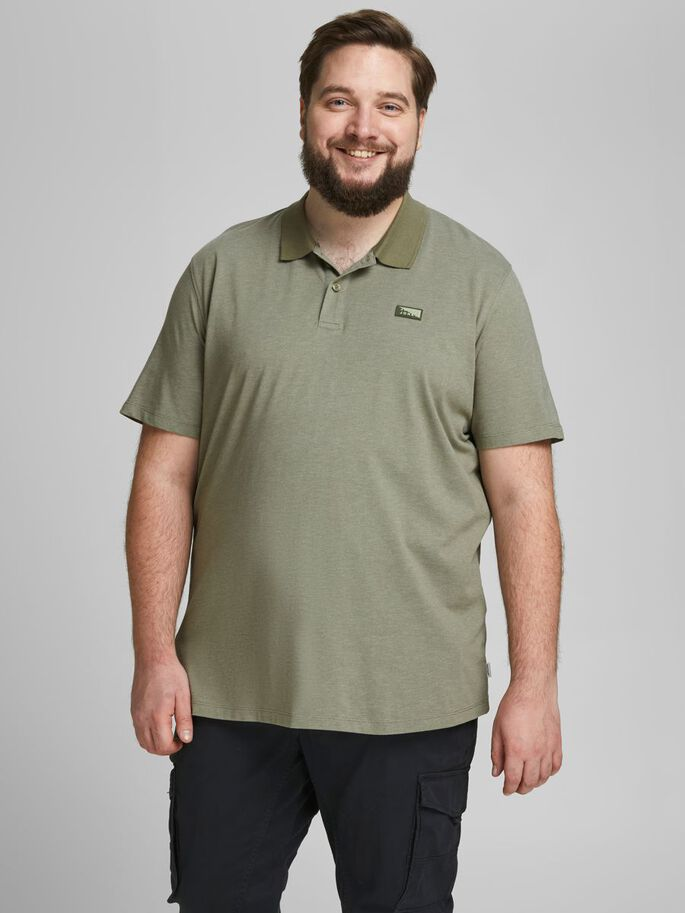 SINGLE JERSEY PLUS SIZE POLO, Deep Lichen Green, large