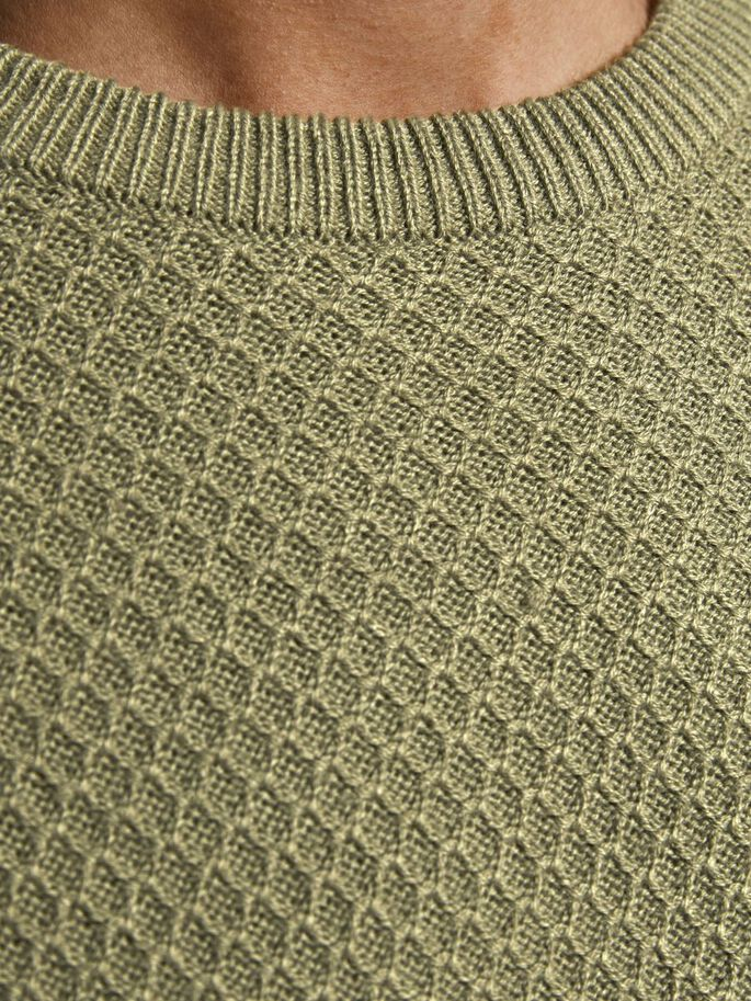 TEXTURED CREW NECK KNITTED PULLOVER, Martini Olive, large