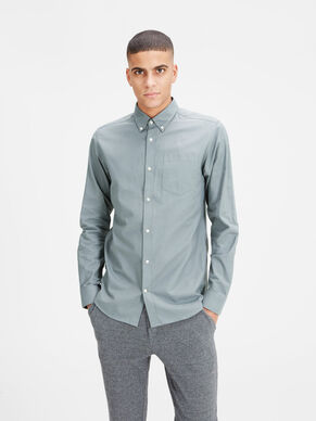 OXFORD BUTTON-DOWN OVERHEMD MET LANGE MOUWEN