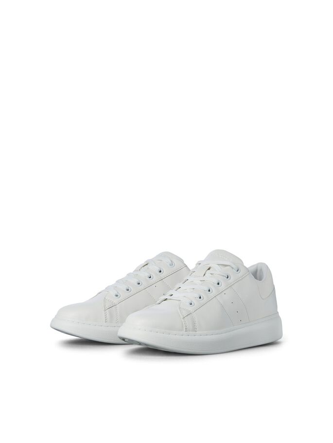 PU LEATHER SNEAKERS, Bright White, large