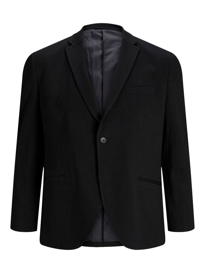 SINGLE-BREASTED VISCOSE PLUS SIZE BLAZER, Black, large