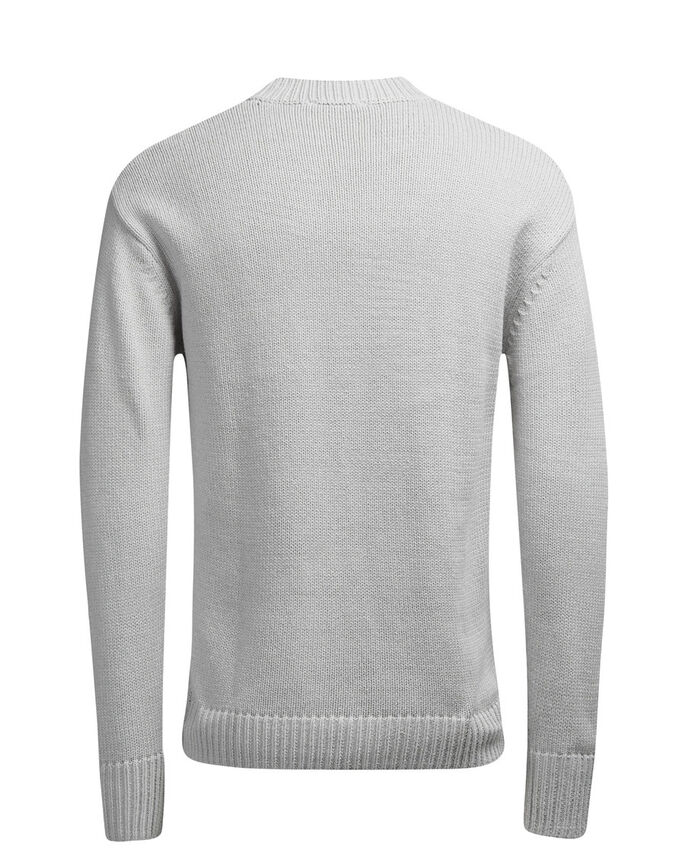 RUNDRINGAD STICKAD TRÖJA, Light Grey Melange, large