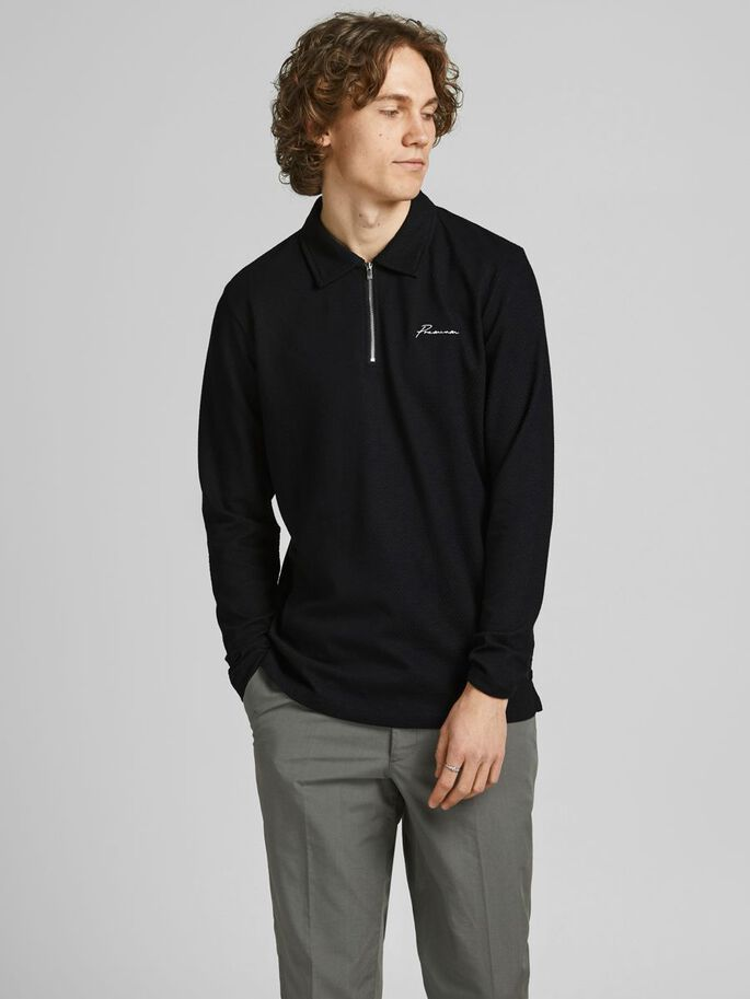 EMBROIDERED LOGO MESH LONG-SLEEVED POLO, Black, large