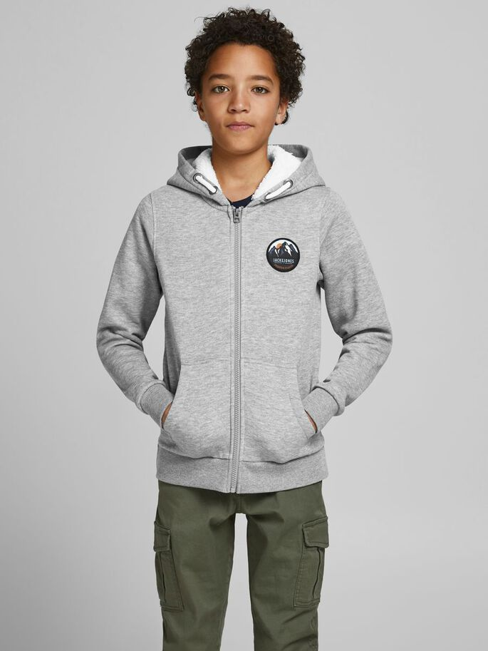 BOYS ZIPPED HOODIE, Light Grey Melange, large