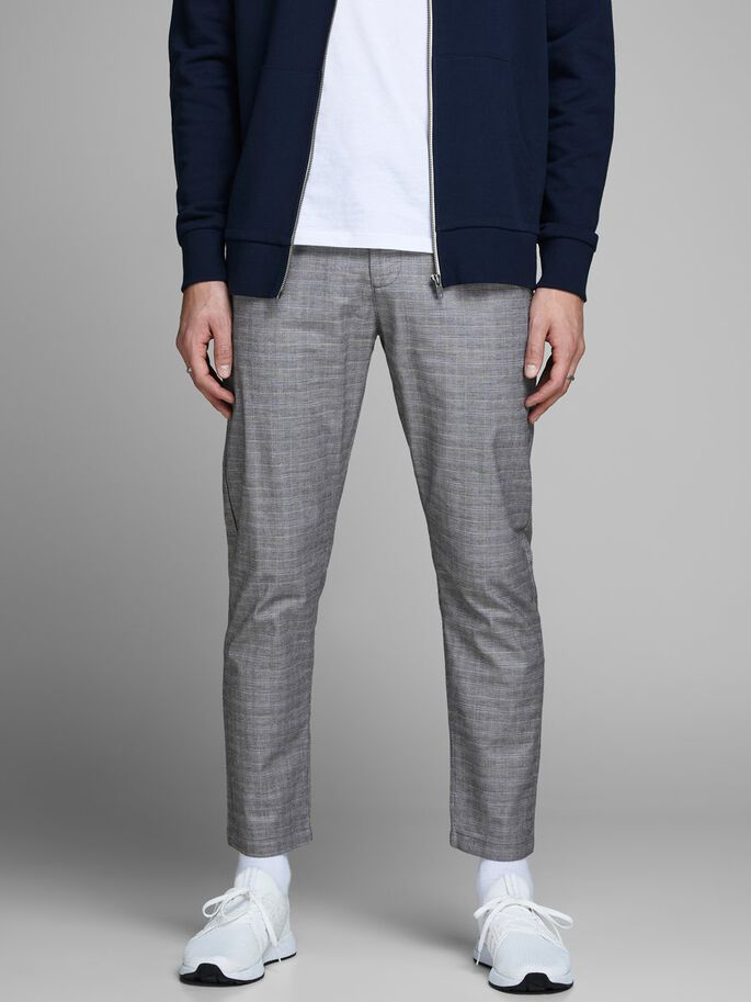 3e04d31437f JACK & JONES CHECKED PLEATED CHINOS