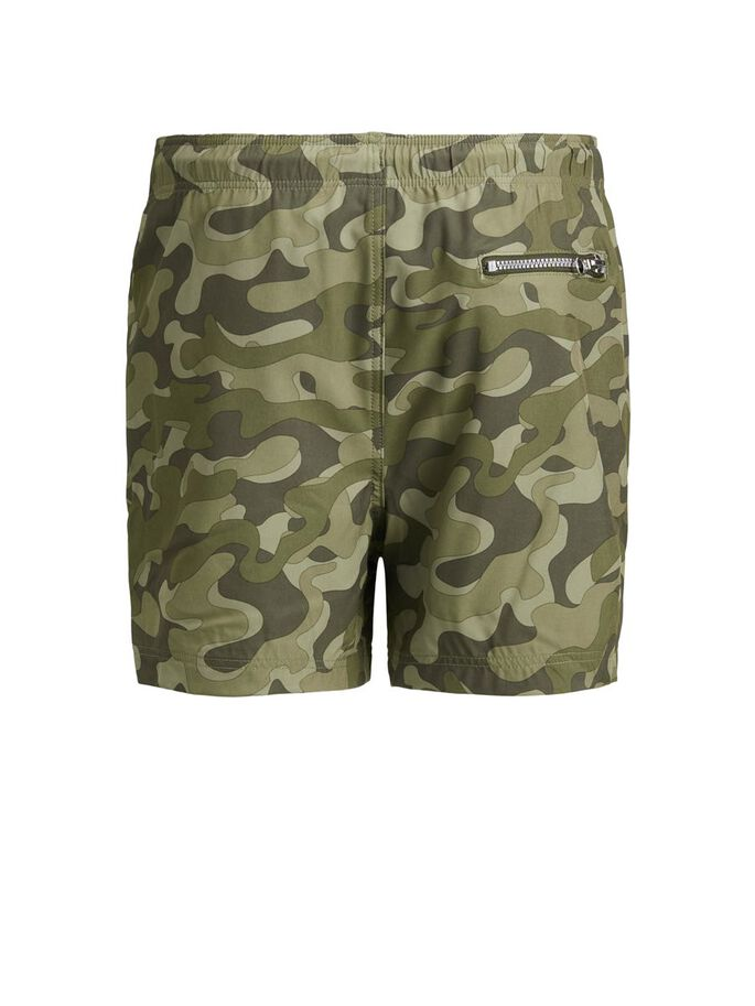 BOYS CAMO PRINT SWIM SHORTS, Forest Night, large