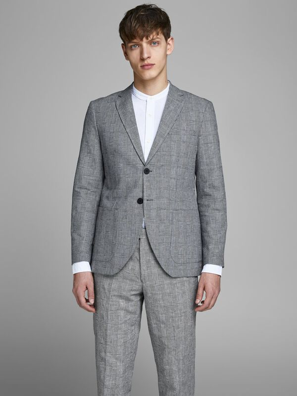 Jack & Jones - Checked Linen Blazer - 3