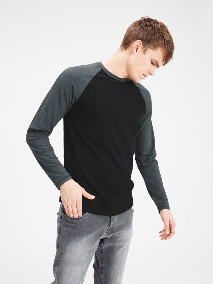 RAGLAN LONG-SLEEVED T-SHIRT, Dark Grey Melange, large