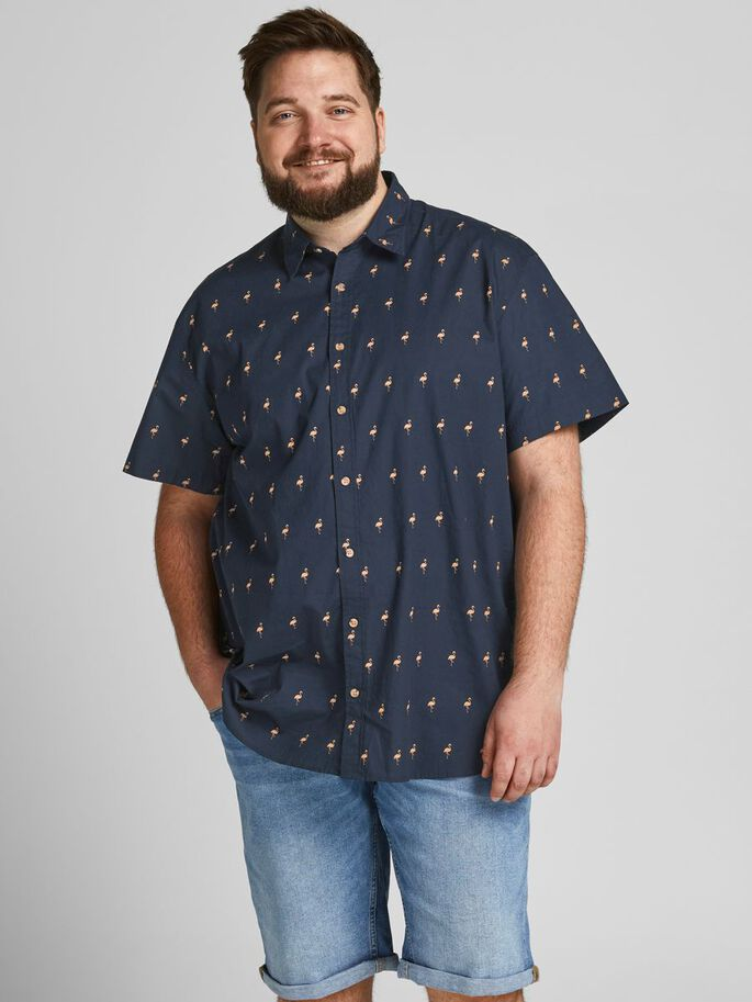 FUN PRINT PLUS SIZE SHORT SLEEVED SHIRT, Navy Blazer, large