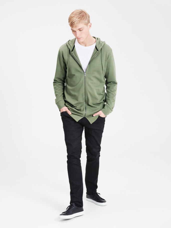 LONG LINE HOODIE, Dusty Olive, large