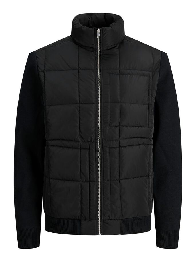 QUILTED KNIT JACKET, Black, large