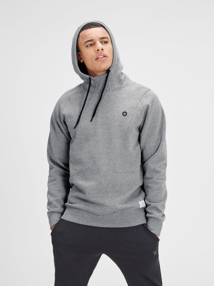 DETALJERET HOODIE, Light Grey Melange, large