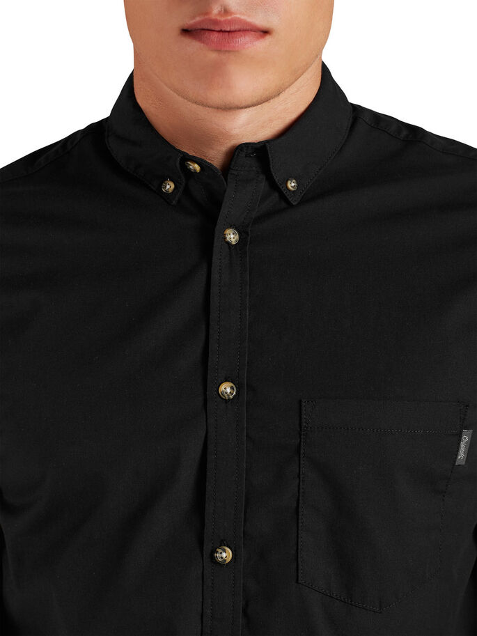 CASUAL SLIM FIT LONG SLEEVED SHIRT, Black, large