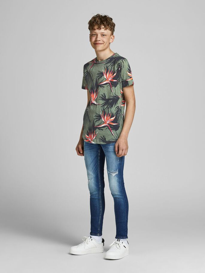 BOYS FLORAL T-SHIRT, Sea Spray, large