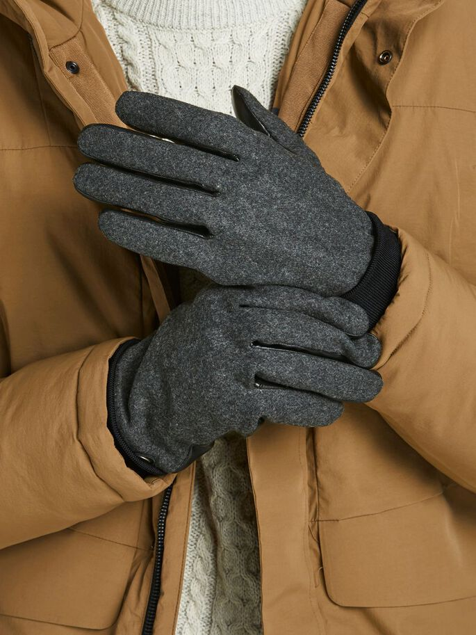 WOOL AND FAUX LEATHER GLOVES, Light Grey Melange, large