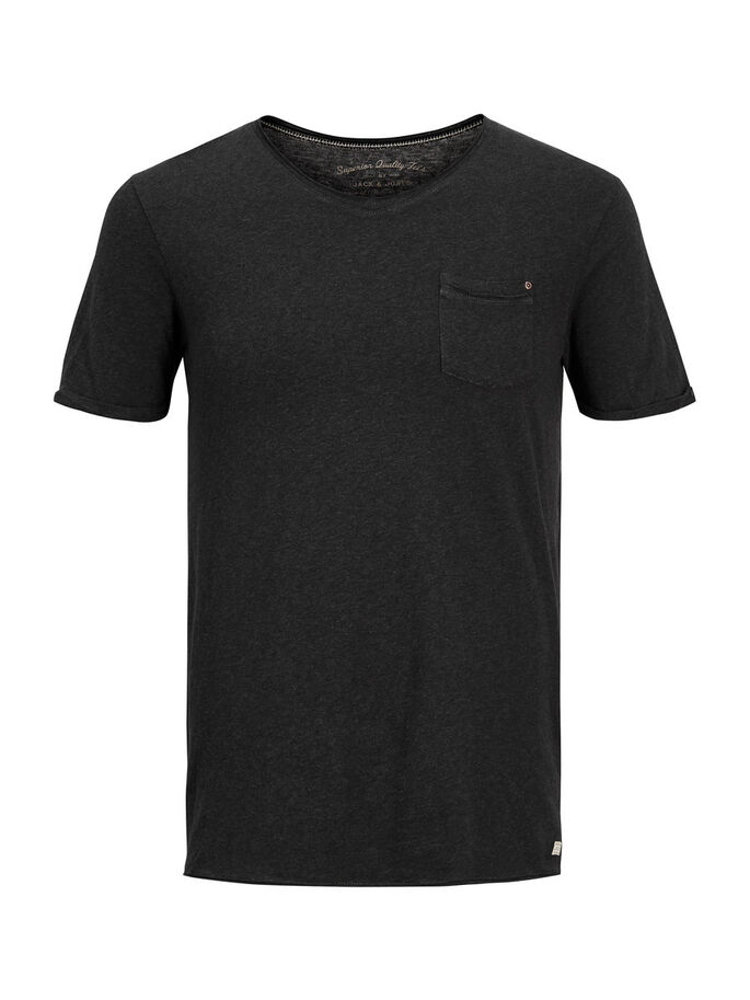 PLAIN T-SHIRT, Dark Grey, large