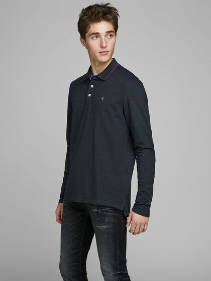 PIQUE LONG-SLEEVED POLO SHIRT