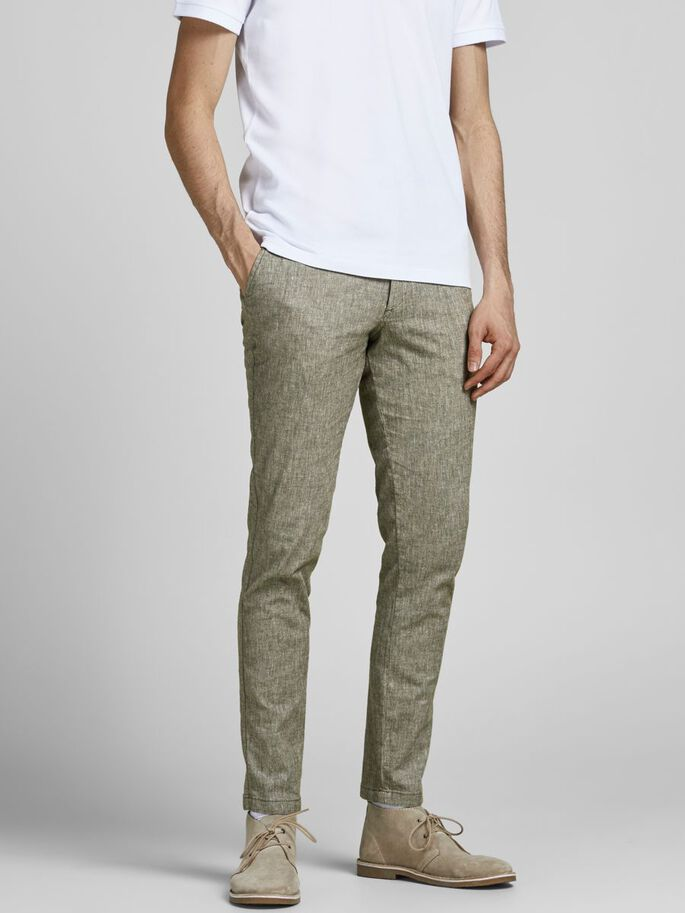 MARCO DAVE LINNEN AKM CHINO, Olive Night, large