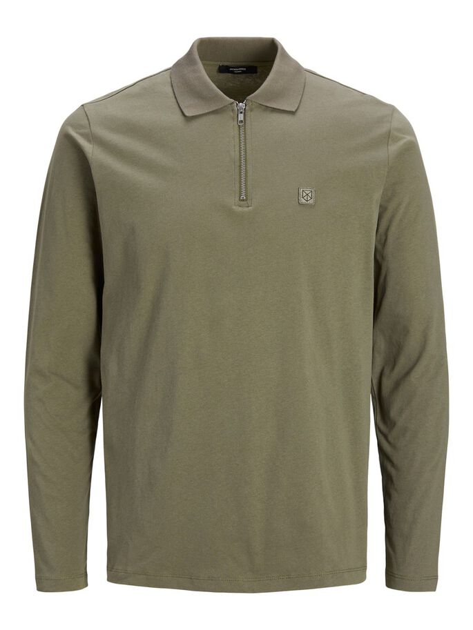 HALF ZIP PLUS SIZE POLO, Capers, large