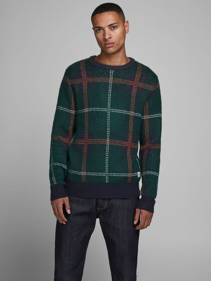 CHECKED KNITTED PULLOVER