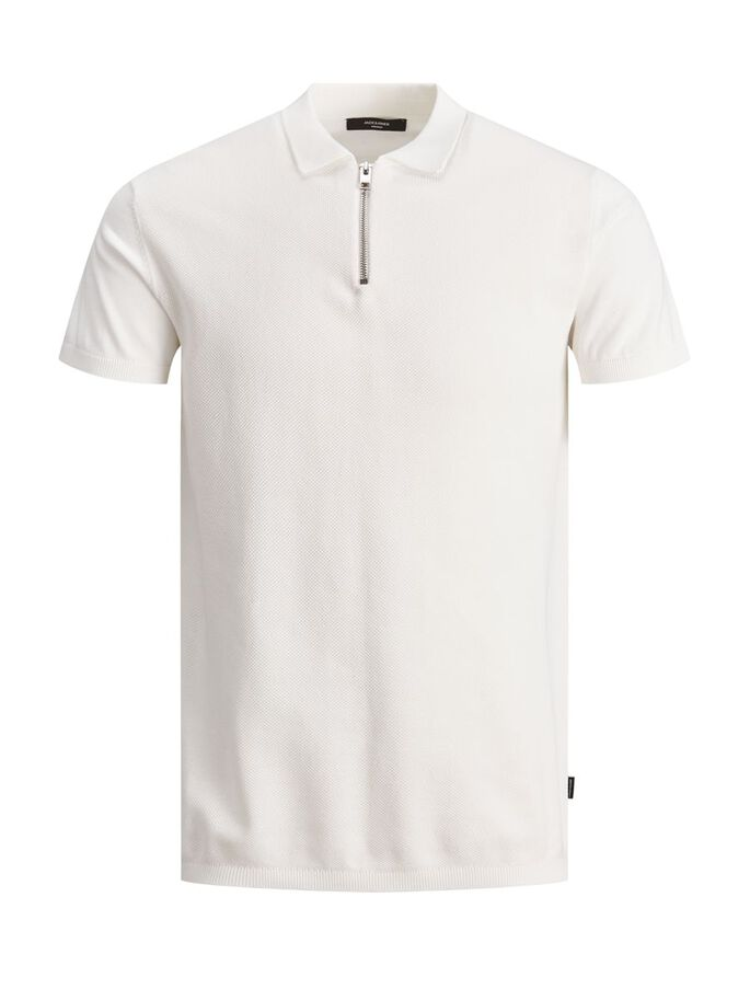 ZIP TEXTURED POLO SHIRT, Egret, large