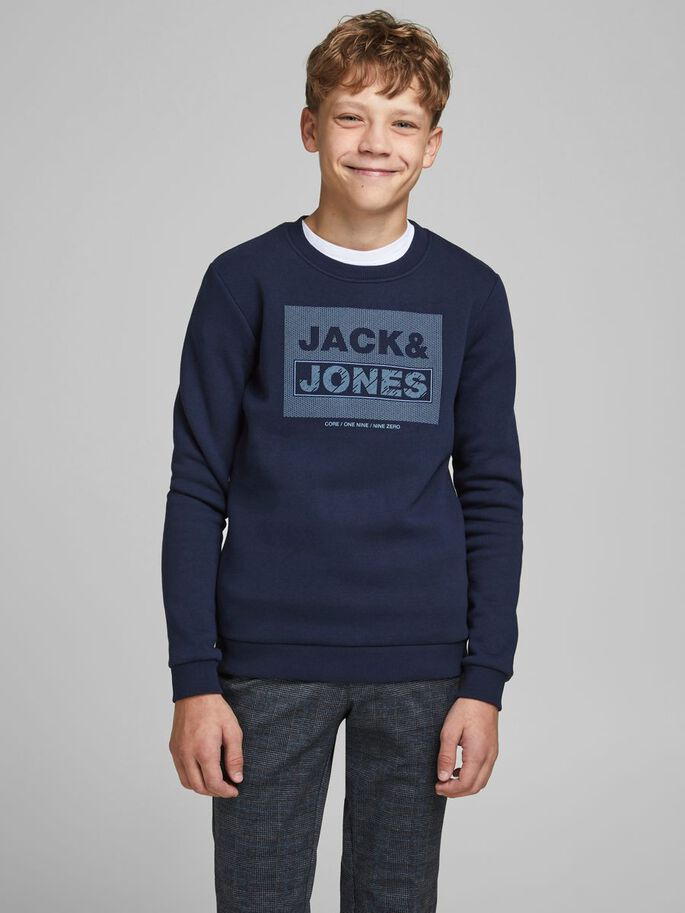 BOYS CREW NECK SWEATSHIRT, Navy Blazer, large