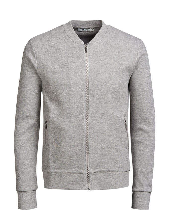 BASEBOLLINSPIRERAD SWEATSHIRT MED DRAGKEDJA, Cool Grey, large