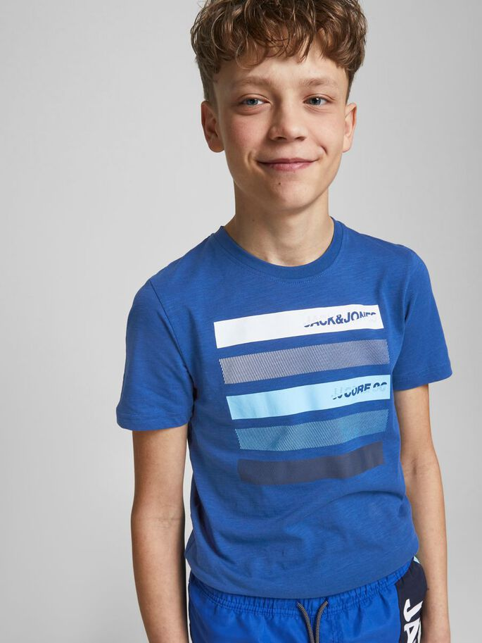 BOYS CREW NECK LOGO T-SHIRT, Galaxy Blue, large