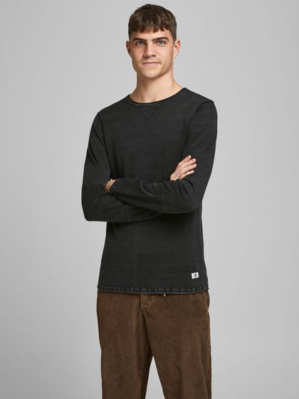TEXTURED COTTON KNITTED PULLOVER