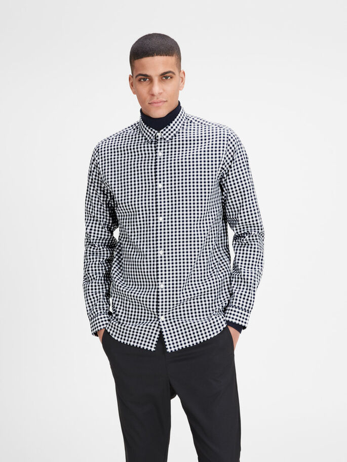 GINGHAM CHECK LONG SLEEVED SHIRT, White, large