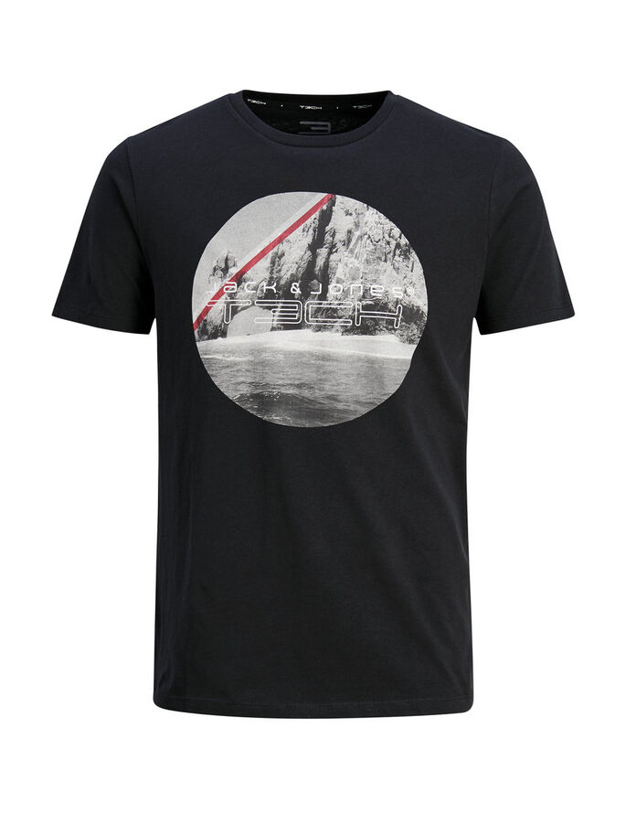 PHOTO-PRINT T-SHIRT, Black, large