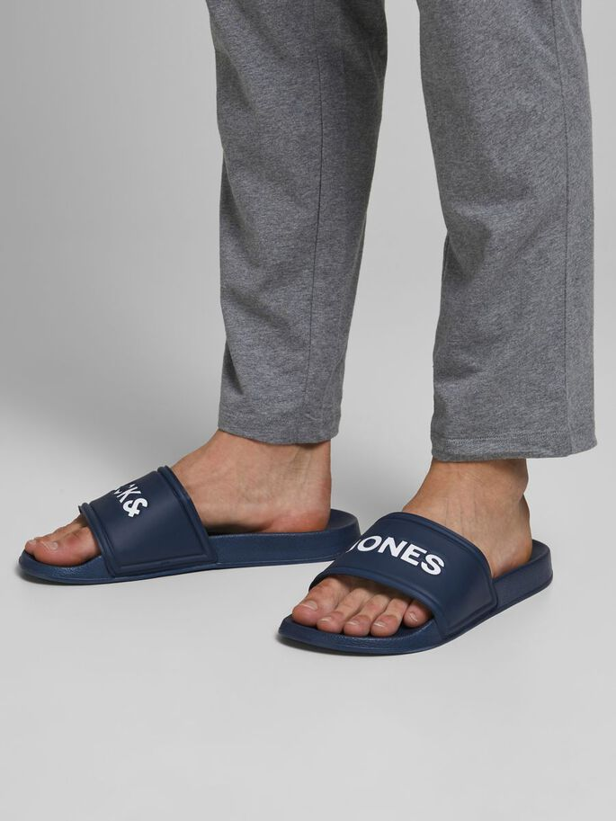 LOGO ZWEMBAD SLIPPERS, Majolica Blue, large