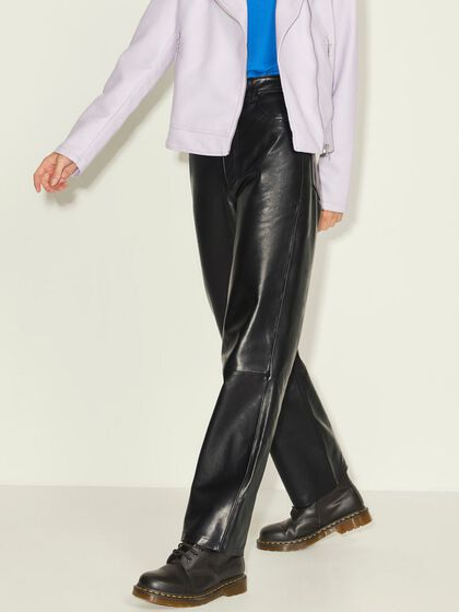 JXGRACE STRAIGHT LEATHER TROUSERS