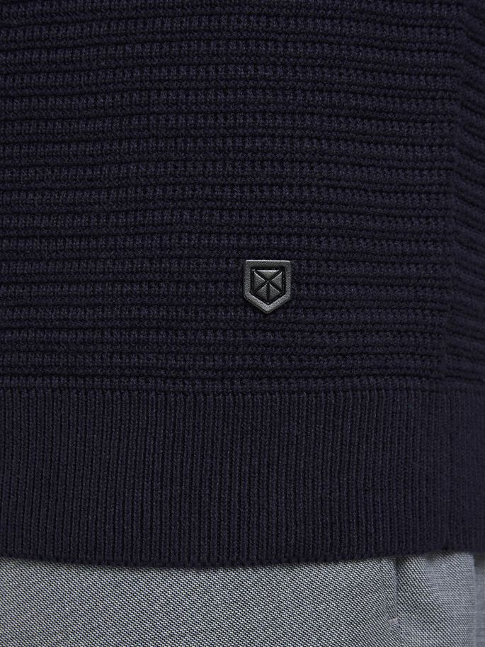PLAIN KNITTED PULLOVER, Maritime Blue, large