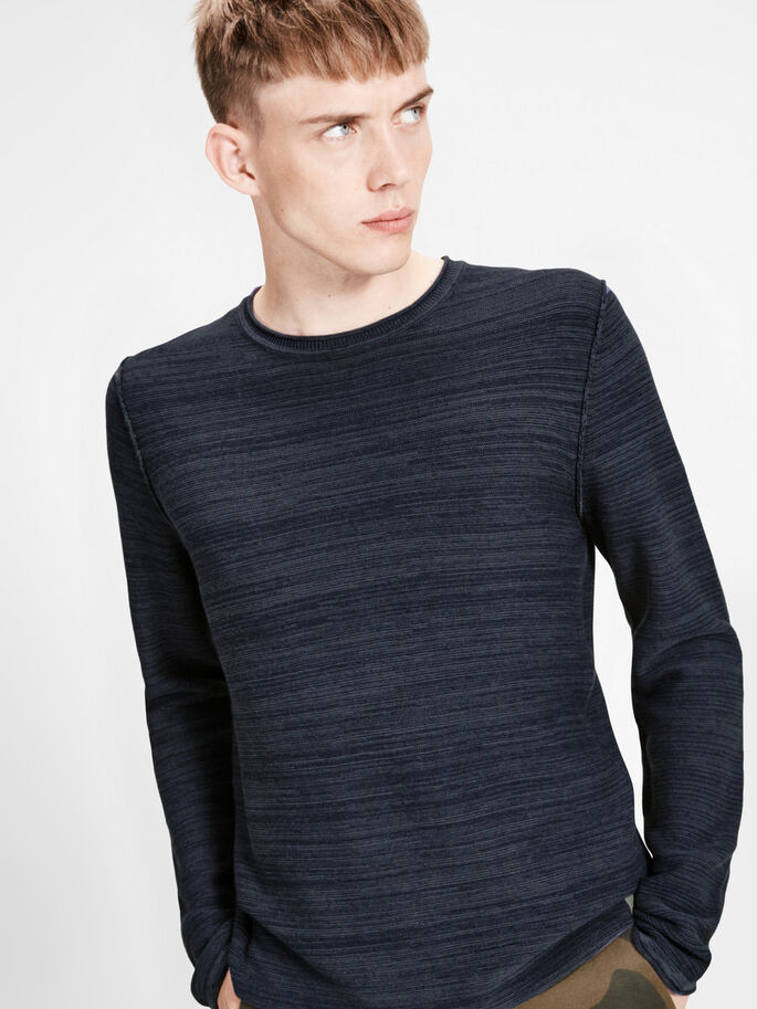 CASUAL STRIKKET PULLOVER, Dark Navy, large