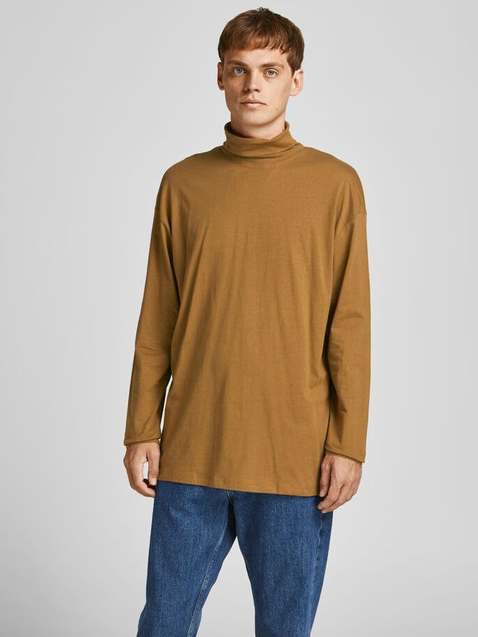 ROLL NECK LONG-SLEEVED T-SHIRT, Rubber, large