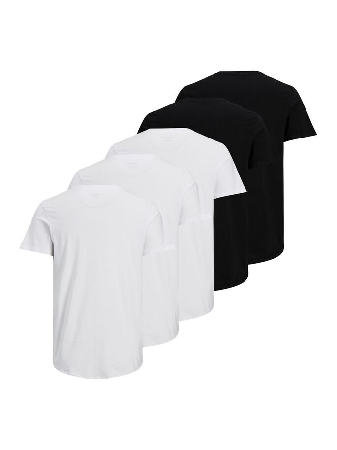 5ER-PACK BIO-BAUMWOLL T-SHIRT, Black, large