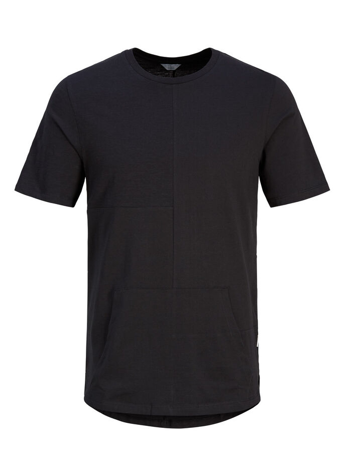 LONGER LENGHT T-SHIRT, Black, large