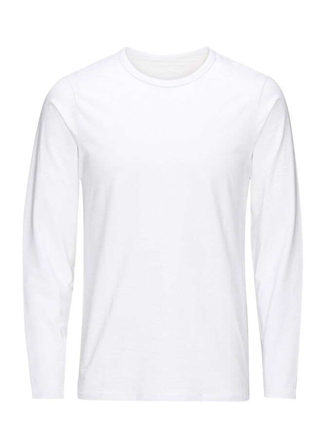 BASIC LONG-SLEEVED LONG-SLEEVED T-SHIRT, OPT WHITE, large