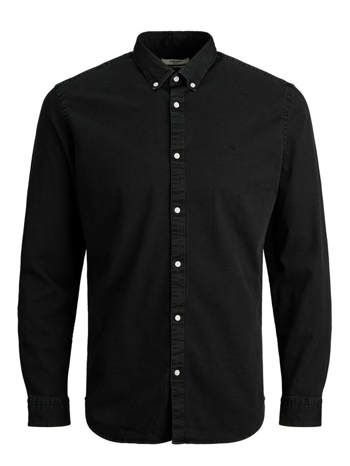 SLIM FIT BUTTON-DOWN SPIJKERBLOUSE, Black Denim, large