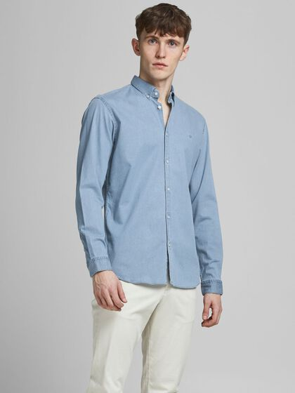 SLIM FIT BUTTON-DOWN JEANSHEMD