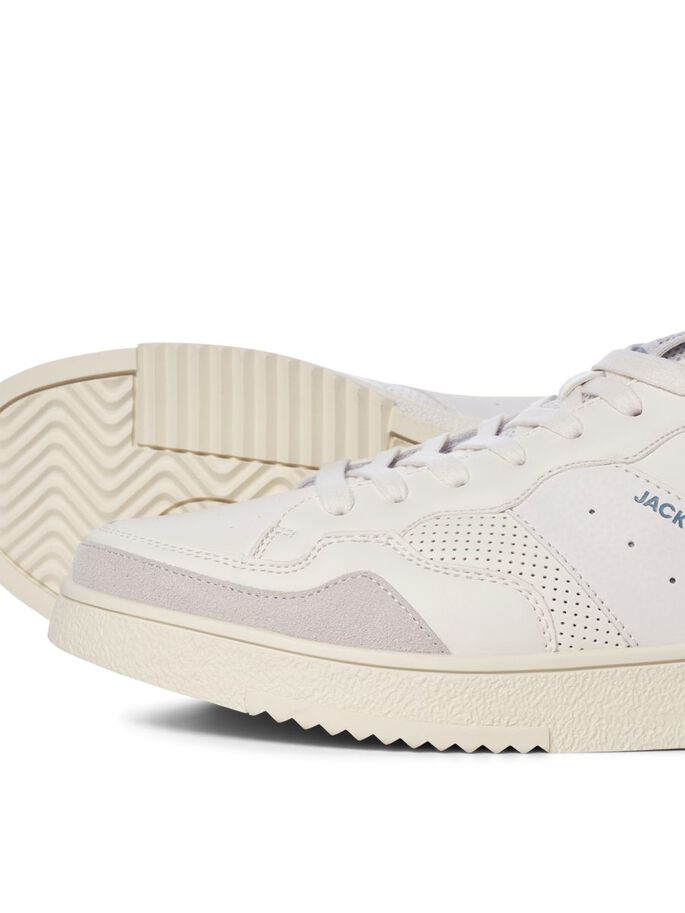 BOYS FAUX LEATHER MESH SNEAKERS, Winter White, large