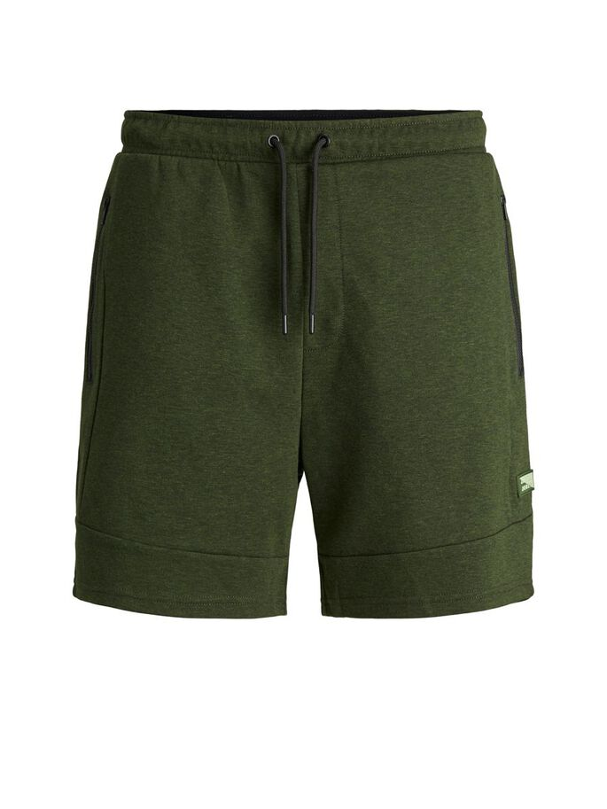 ZIP POCKET INTERLOCK SWEAT SHORTS, Deep Lichen Green, large