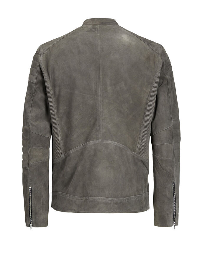 BIKER- LEDERJACKE, Dark Grey, large